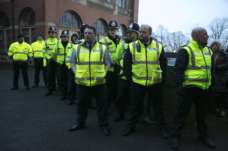 Police and security at Birmingham University. PHOTO: Defend Education Birmingham