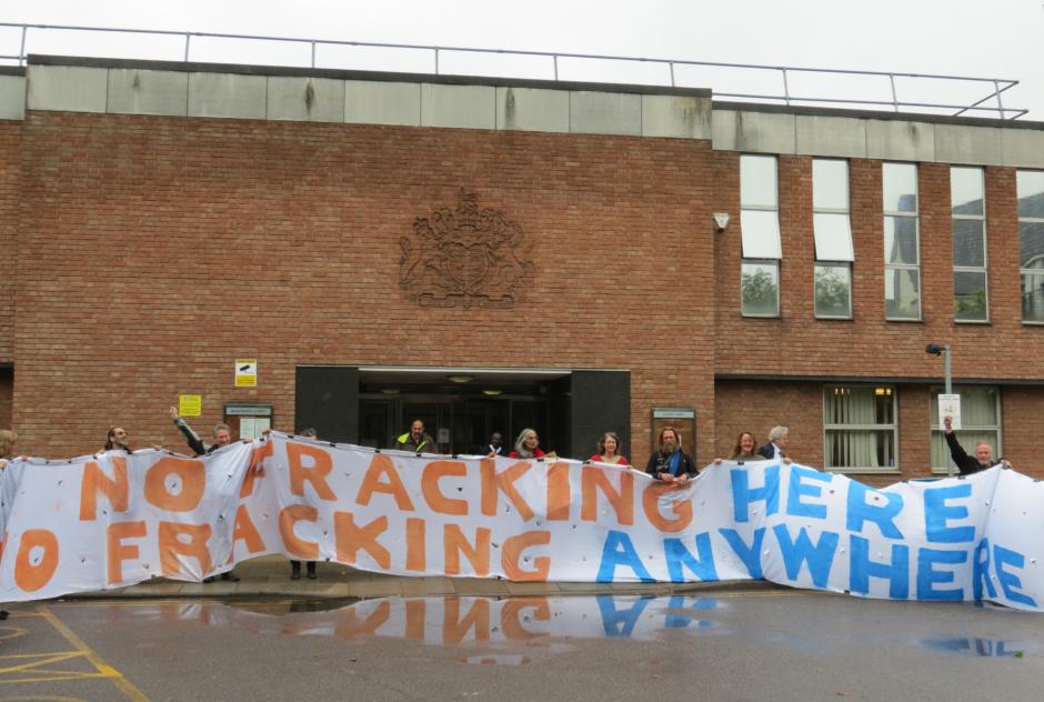Horse Hill defendants outside Redhill magistrates court. PHOTO: Netpol