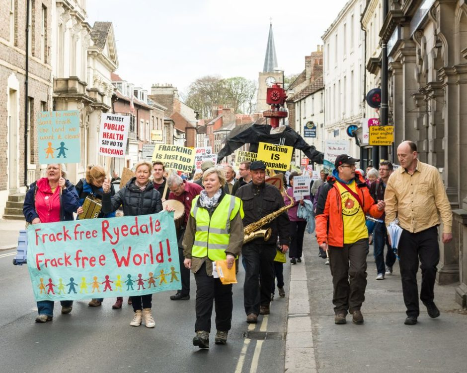 Anti-fracking protest march in Malton, North Yorkshire