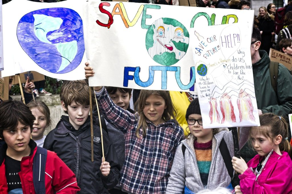 Children on the Global Climate Strike in London on Friday 15th March 2019