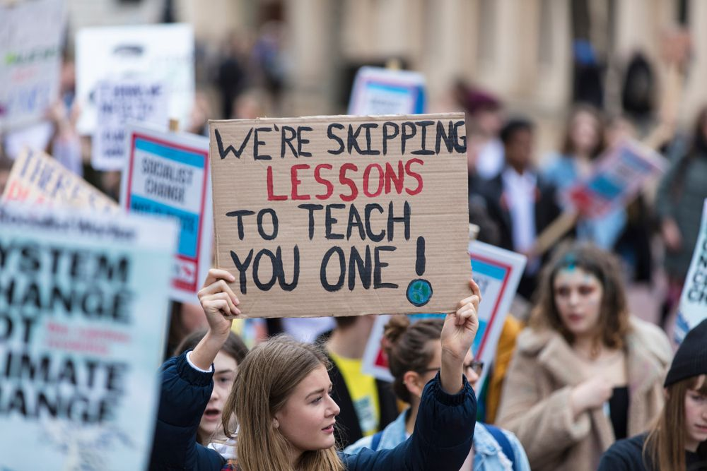 LONDON, UK - March 15, 2019:Thousands of students and young people protest in London as part of the youth strike for climate march - Image